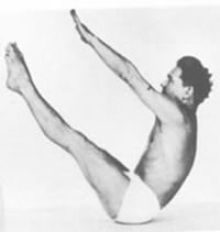 Joseph Pilates demonstrates Pilates pose